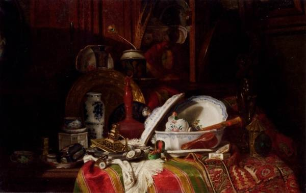 Trinquier Antoine Guillaume Still Life With Dishes A Vase A Candlestick And Other Objects